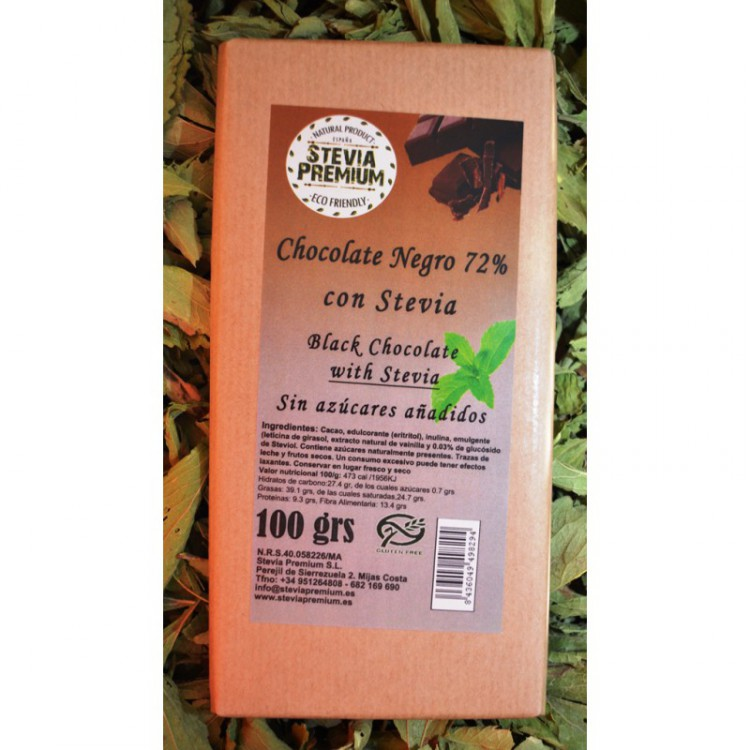 CHOCO NEGRO 72% STEVIA 100G